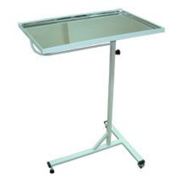 Медицинский инструментальный столик (передвижной с регулируемой полкой из нержавеющей стали)