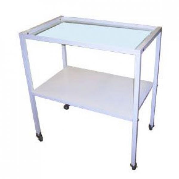 Медицинский инструментальный столик (передвижной со стеклянной полкой)