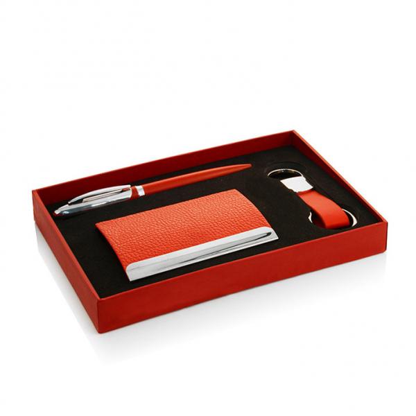 Подарочный набор Paris, включающий ручку с синими чернилами, визитницу и брелок