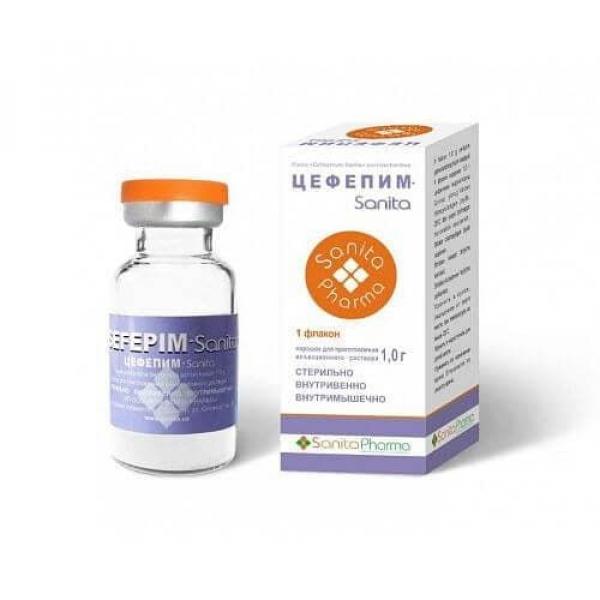 Антибиотик Цефепим Sanita 1,0 г порошок для приготовления раствора