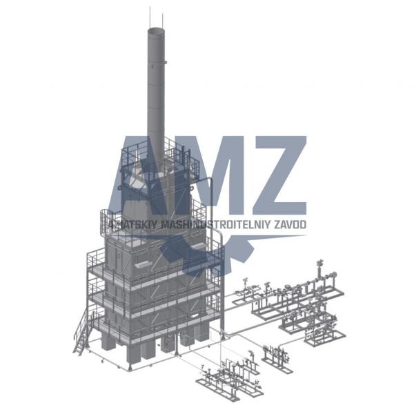 Печь цилиндрическая секционная AMZ ПЦС-2 для высокотемпературного нагрева нефти или нефтепродуктов