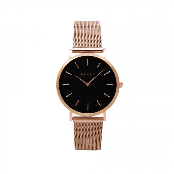 Часы из коллекции Petite (черные с розовой позолотой)