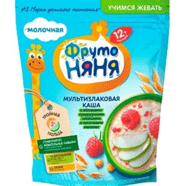 Фрутоняня Каша мультизлаковая молочная с яблоками, кукурузными хлопьями и кусочками малины с 12 месяцев 0,2кг