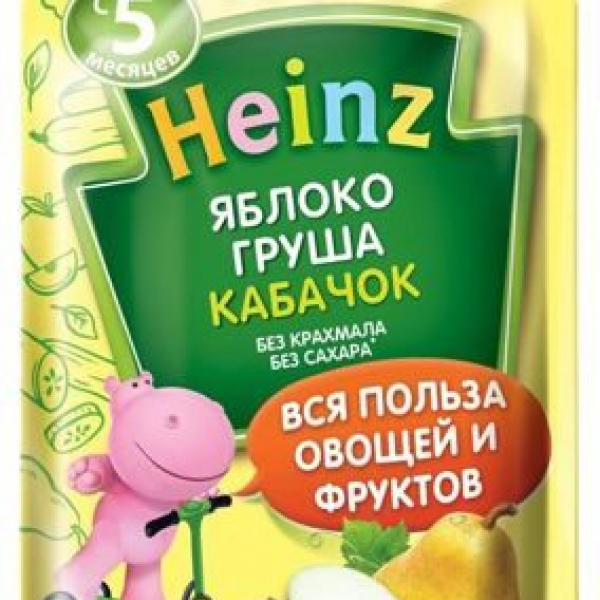 Heinz Пюре Яблоко, Груша, Кабачок с 5 мес. 90 гр