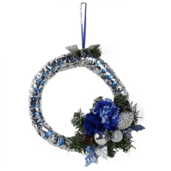 Ёлочная игрушка - кольцо Синяя роза